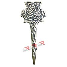 "AAR Scottish Thistle Kilt Pin Antique Brass Finish 4"" Highland Celtic Kilt Pin"