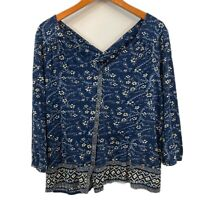 Lucky Brand Womens Blue 3/4 Sleeves V Neck Floral Print Knit Boho Top Size XL