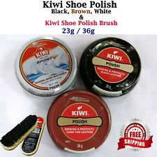KIWI Shoe Polish Wax Shine BLACK, WHITE, DARK TAN, & Polish Brush Free shipping