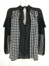 Rachel Comey Willow Lace & Gingham Blouse Top Black White Size 2 NWT