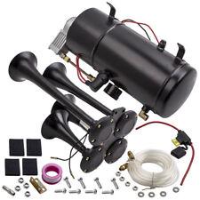 4 Trompete Chrom Zug Luft Horn Kit mit 150PSI 3Liter 12V Trumpet Horn Compressor