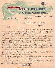 Document du 15/04/1926 NATLA BAPIRAZU Vins spiritueux - Cacanada (Kakinada) INDE