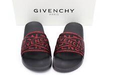 NIB Givenchy Mens Strappy Glitter Logo Red Black Flat Pool Slides Sandals 10 43