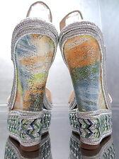 NEU Luxus Damen Sandalen Pumps Schuhe P83 High Heels Wedge Keilabsatz Silver 40