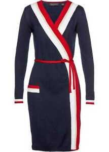 Damen Kleid blau rot weiß Strickkleid 44/46 L  Wickelkleid Gürtel 989