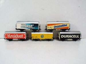 MARKLIN HO X5 BOXCAR WAGONS WITH ADVERTISING UNBOXED (C687)