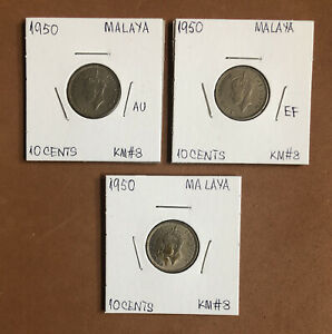 1950 MALAYA 10 CENTS -LOT Of 3 High Grade Collectible Coins~KM#8~KING GEORGE VI
