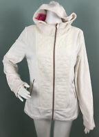 NWT Women's Betsey Johnson Ivory Faux Fur Hooded Full Zip Jacket Sz Medium