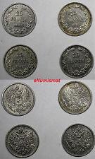 Finland Nicholas II Silver LOT OF 4 COINS 1908 25 Pennia Mintage-340,000 KM# 6.2