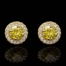1Ct Round Created Diamond And Citrine Halo Stud Earrings 14K Solid Yellow Gold