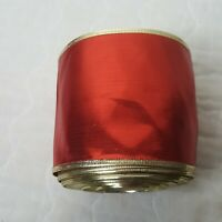 "4"" x 14yd Red Satin w Gold Wire Edge Christmas Craft Ribbon"