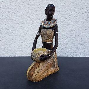Afrikanische Frau Teelichthalter Figur Afrikanerin Afrika Massai Zulu WU16344
