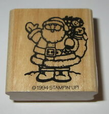 Santa Claus Stampin' Up! Rubber Stamp Bag of Toys New Christmas Retired Wood Mtd