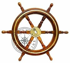 "24"" Nautical Antique Brass Ring Wooden Ship Steering Wheel Vintage Wall Decor"