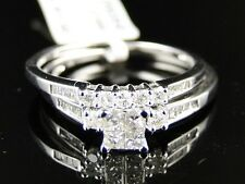 LADIES WHITE GOLD PRINCESS CUT DIAMOND ENGAGEMENT WEDDING BRIDAL RING SET 1/2 CT
