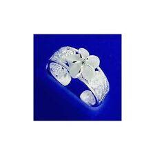 Plumeria Flower Scroll Toe Ring Cz Silver 925 8Mm Hawaiian Cut Out