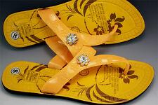 Women's Trendy Yellow Beach Summer Flip Flops / Slippers w Rhinestones - Size 4