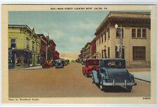 Main Street Cars Salem Virginia linen postcard