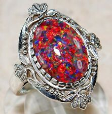 4CT Red Fire Opal 925 Solid Sterling Silver Art Nouveau Jewelry Ring Sz 8, F2-3