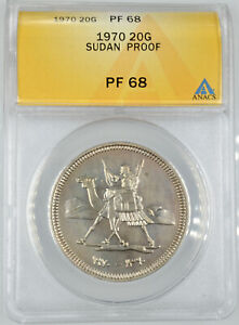 AH1390 Sudan 1970 20 Girsh Proof Coin ANACS PF 68 Mintage Of Only 1,646 Pieces!
