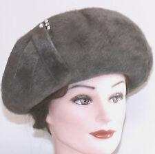 VINTAGE woman's HAT SCHIAPARELLI PARIS GREY FUR upbrim MADE AUSTRIA RHINESTONE