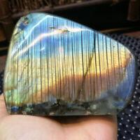 Natural Labradorite Crystal Rough Polished Ornaments Mineral Healing 495G