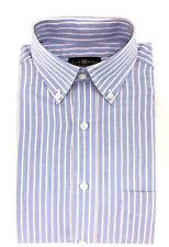 Club Room Men's Regular Fit Short Sleeve Dress Shirt, Blue Striped, Size 14.5 SS