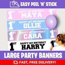PERSONALISED 1ST BIRTHDAY PARTY BANNERS! Peel-N-Stick - FAST (Design Service)