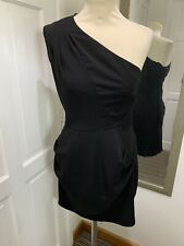 WAREHOUSE Black One Shoulder Size 10 Pencil Dress Asymmetrical Night Out Party