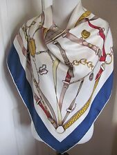 "Collier Bellotti Italy Designer Large Silk Scarf 34"" Square Ivory Blue Peck Peck"
