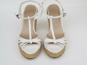 Colin Stuart strappy Brown Woven Natural Open Toe Wedge Heels Sandals Sz 8.5 B