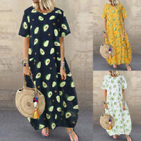 ZANZEA Women Short Sleeve Cartoon Print Sundress Summer T-Shirt Dress Midi Dress