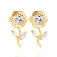 Women 18K Gold Plated Clear Flower CZ Cubic Zirconia Stud Earrings Jewelry Girls