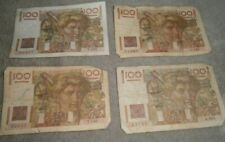 Vintage French Banknote 100 Francs. x  4 Notes Billet,s 1 x good 3 x not as good
