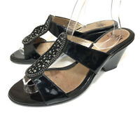 Sofft Womens Heel Sandals Black Patent Leather Rhinestone Bling Size 8.5 Comfort