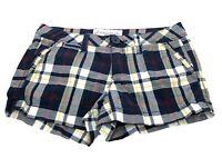 Aeropostale Women's Size 00 Junior Shorts Plaid Blue Stretch Button Flap Pockets