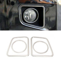 Steel Chrome Front Fog Lamp Fog Light Cover Trim For Toyota Tundra 2014-2021