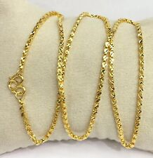 24k Solid Gold Shiny Box Chain Necklace. 20 Inches. 12.20 Grams