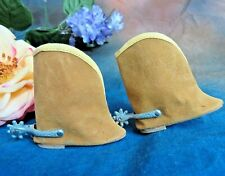 VINTAGE 1950s DOLL SHOES Cowgirl Cowboy BOOTS tan SUEDE metal SPURS 2 3/4""