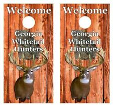 Welcome Georgia Whitetail Deer Hunters Cornhole Board Decal Wrap Free Squeegee
