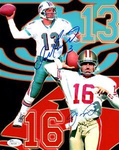 Joe Montana + Dan Marino Signed Autographed Dolphins 49ers 8x10 Photo JSA COA