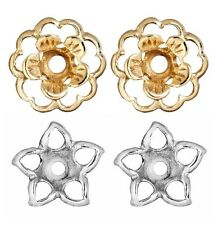 2 Pair Earring Jackets Set of 1 Pair Gold Flower and 1 Pair Silver Stars Jackets