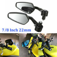"""2x Universal 7/8"""" 22mm Motorcycle Rear View Handle Bar End Mirrors CNC Aluminum"""