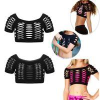 Girls Mesh Fishnet Crop Top T-Shirt Dance Gym Workout Tank Top Off-Shoulder Vest