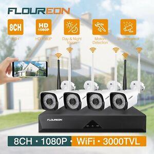 FLOUREON 4CH Security Camera System, 1080P Wireless Security Camera System