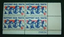 "1968""Support Our Youth"" Plate Block Scotts 1342 Six Cent Stamps Vfine Unhinged"