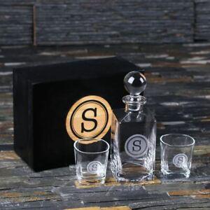 Personalised Scotch Whisky Decanter, 2 Whisky Glasses w/ Keepsake Box Monogram
