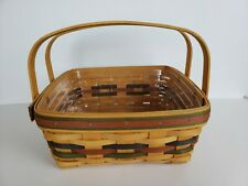 "New ListingLongaberger Woven Carry Basket with Protective Liner 1997 10"" 10"" x 4"""