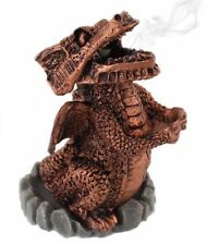 Copper Red Smoking Dragon Incense Cone Burner Holder Mythical Magical Fantasy