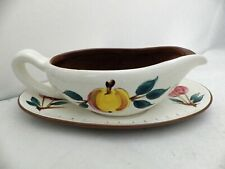 Stangl Pottery - Fruit Pattern - Gravy/Sauce Boat with Oval Underplate - VGC